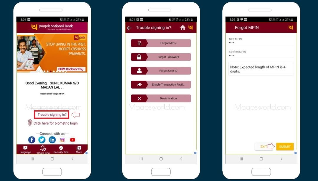 PNB mobile banking password reset