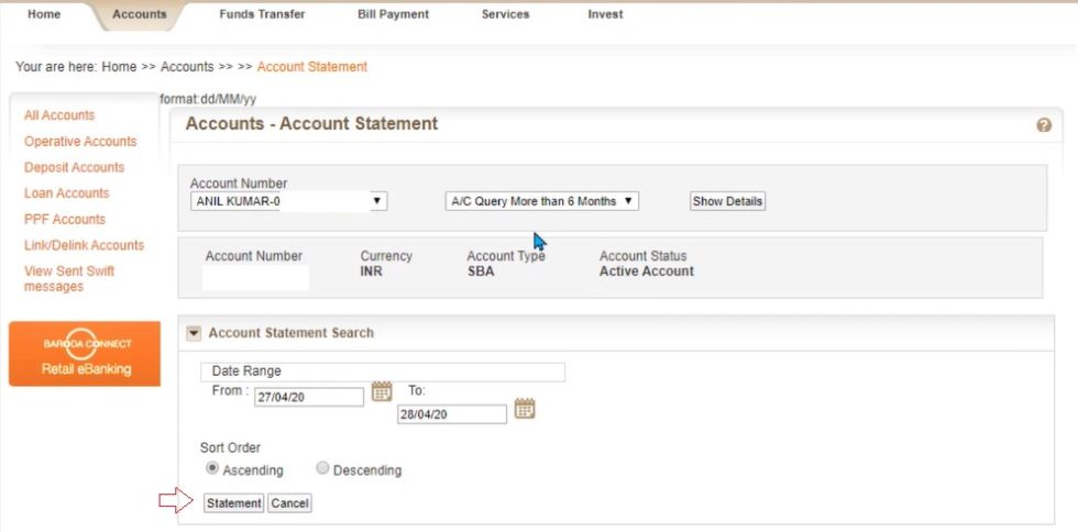 how to make a bank statement online