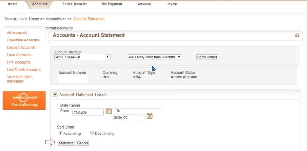 Bank of Baroda Statement Online