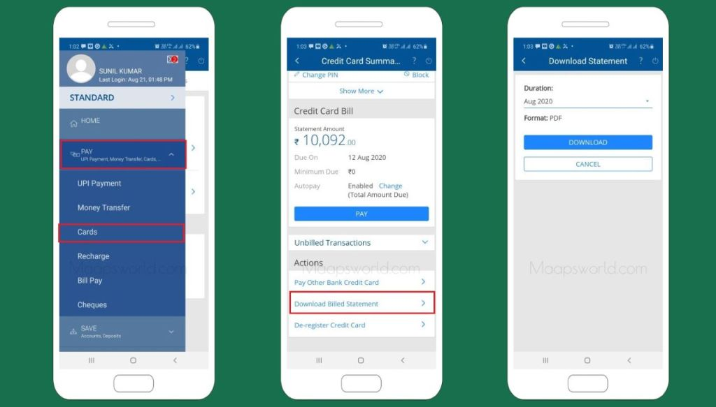 hdfc credit card statement app