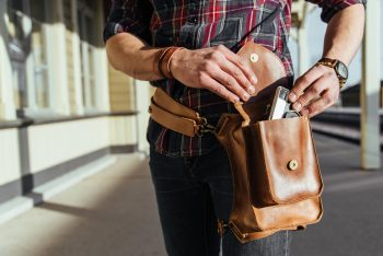 Unisex brown multifunctional holster bag handcrafted by Maarja Sööt. Photo by Taavi Lutsar.