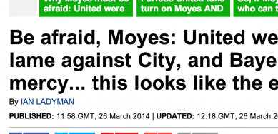 http://www.dailymail.co.uk/sport/football/article-2589739/Be-afraid-David-Moyes-Manchester-United-predictably-lame-against-City-Bayern-Munich-looks-like-end-game.html