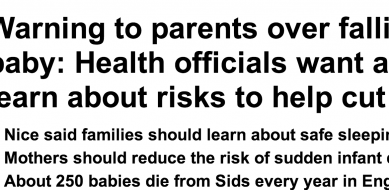 http://www.dailymail.co.uk/health/article-2678694/Warning-parents-falling-asleep-baby-Health-officials-want-mothers-learn-risks-help-cut-cot-deaths.html