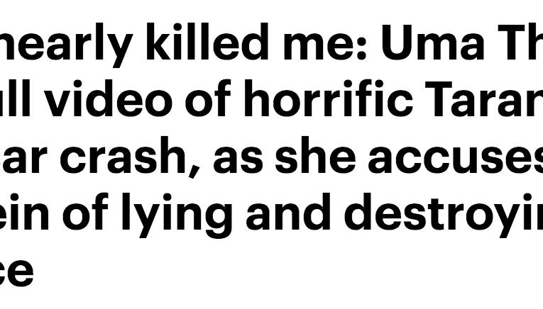 ユマ・サーマンが映画『キル・ビル』でのクラッシュ映像を公開