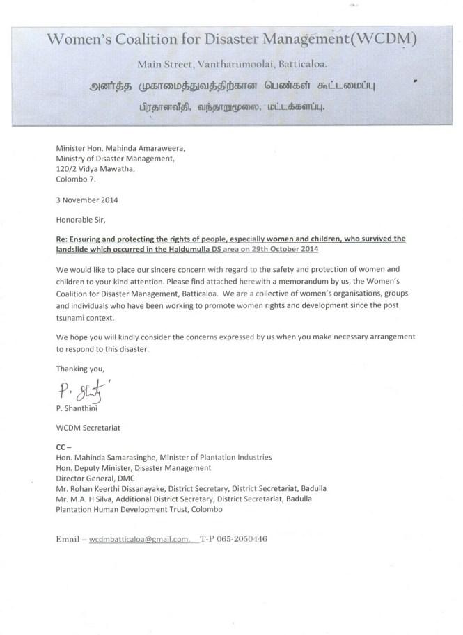 Covering-Letter-Memorandum-to-the-Hon.Minister-on-Koslanda-landslide-03.11.2014