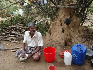 Mullikulam villagers forced to set up in jungle - Malankaadu - June 2012 - pic via NAFSO 2
