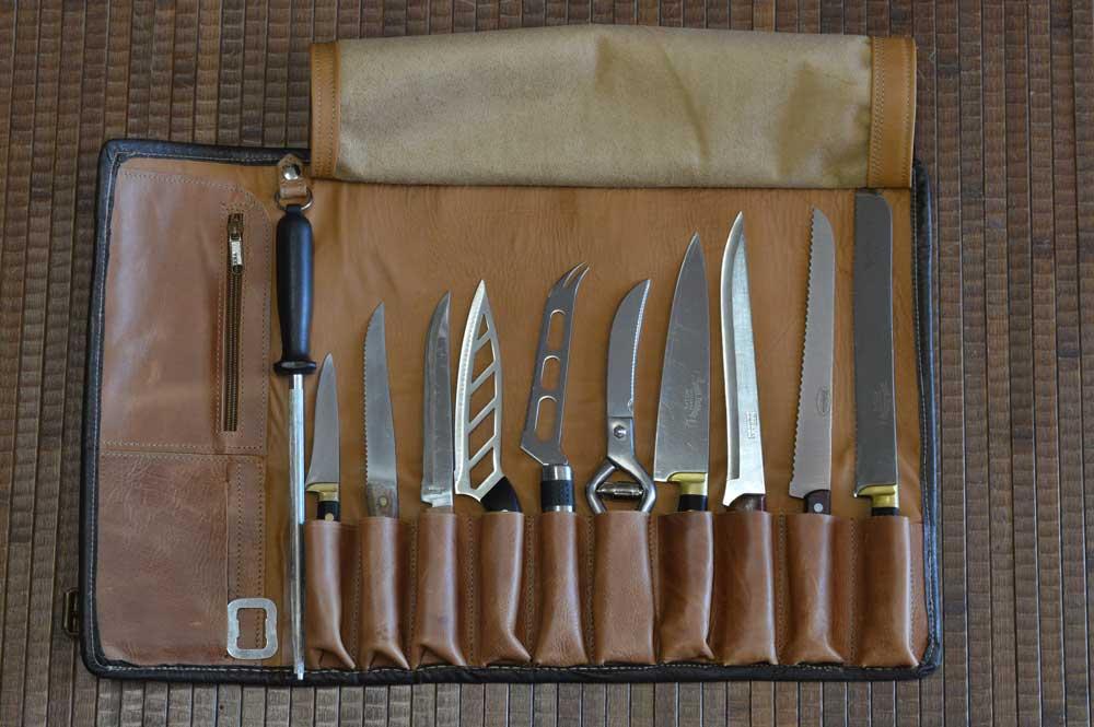 cuero, piel, funda para cuchillos, hecho a mano, handmade, cuchillos, cocineros
