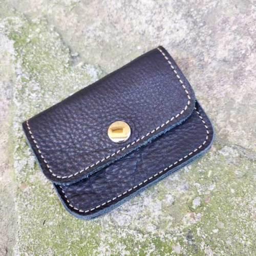 monedero, 3 bolsillos de piel, hecho a mano, negro