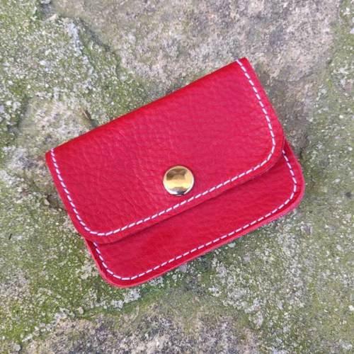 monedero, 3 bolsillos de piel, hecho a mano, rojo
