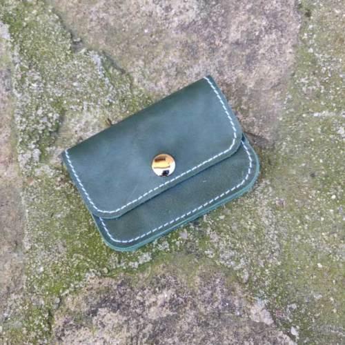 monedero, 3 bolsillos de piel, hecho a mano, amarillo