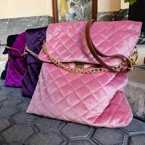 bolso de terciopelo, piel, señora, artesania
