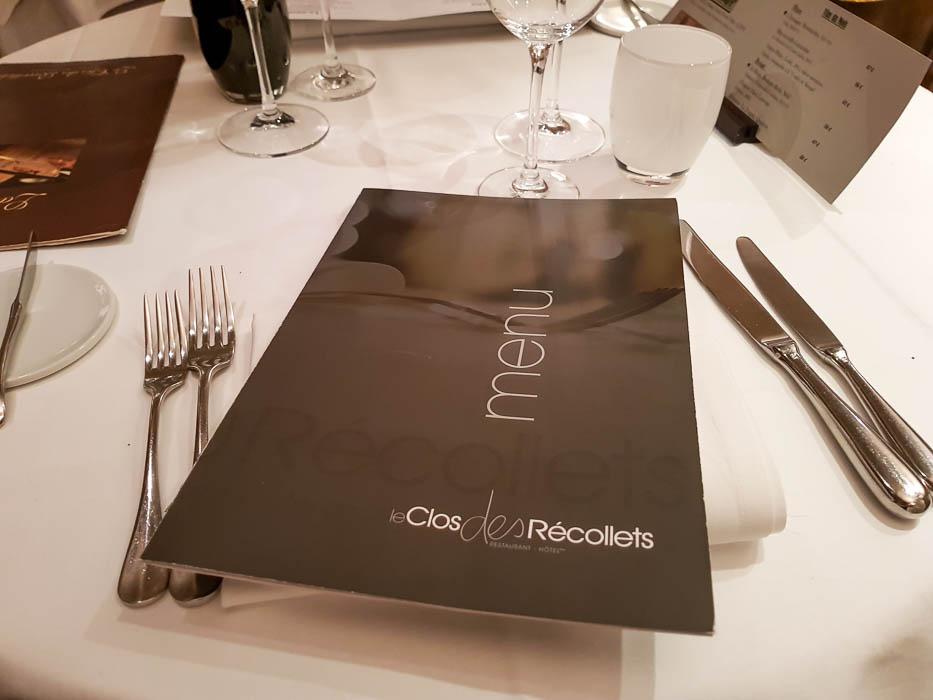 Carte du restaurant Clos des Récollets