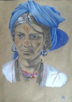 Femme touareg, d'après une photographie de Jean-Marc Durou