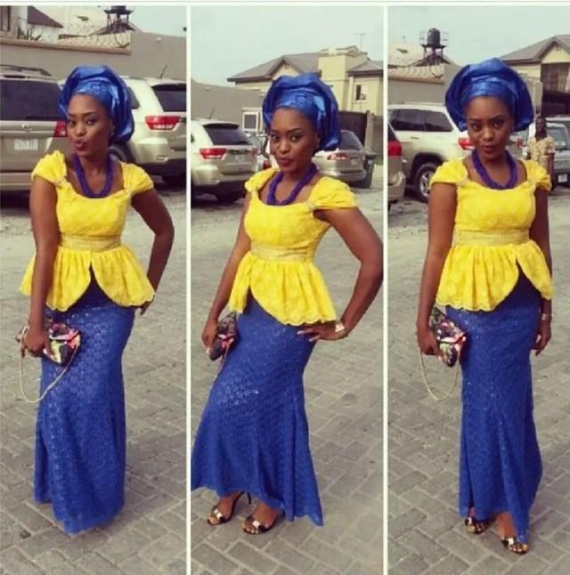 royal blue and yellow aso ebi
