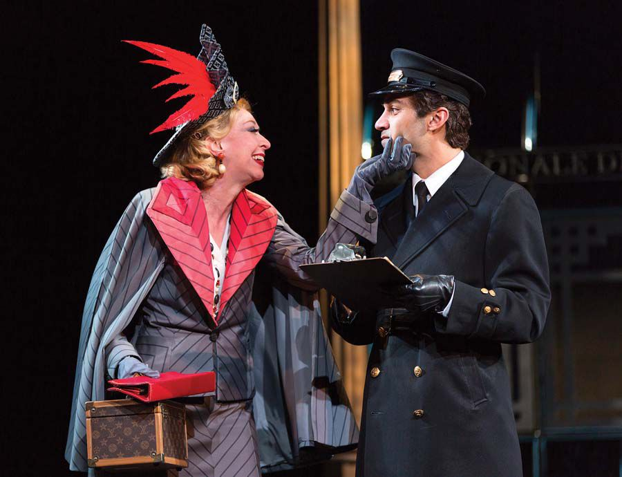 Julie Halston and Maboud Ebrahimzadeh in the McCarter Theatre production of Agatha Christie's Murder on the Orient Express
