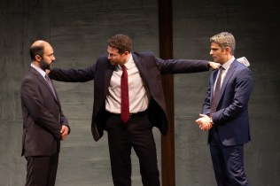 Maboud Ebrahimzadeh, Michael Hammond, and Juri Henley-Cohn as Ahmed Qurei, The American Diplomat, and Uri Savir in OSLO