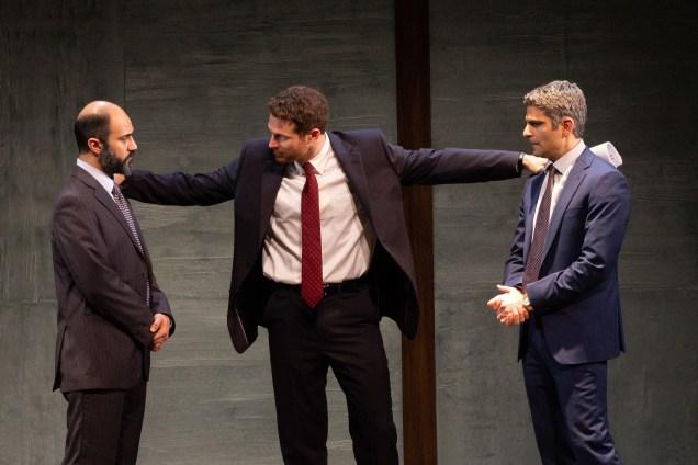 Maboud Ebrahimzadeh, Michael Hammond, and Juri Henley-Cohn as Ahmed Qurei, The American Diplomat, and Uri Savir in OSLO