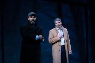 Maboud Ebrahimzadeh and Juri Henley-Cohn as Ahmed Qurei and Uri Savir in OSLO