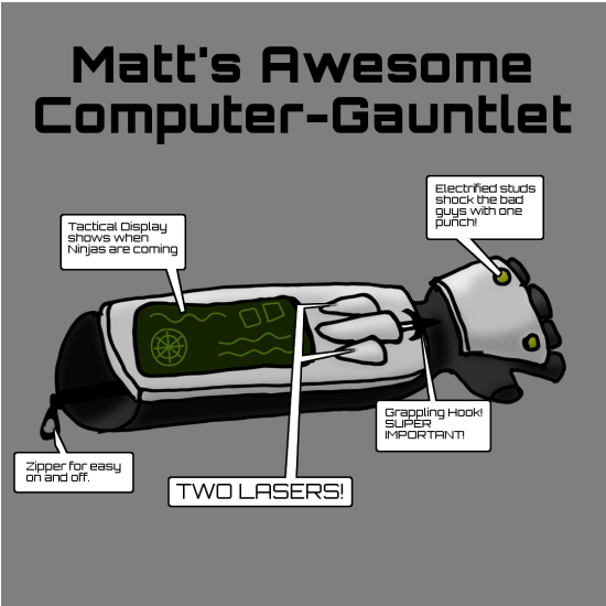 Matt's super awesome computer gauntlet sketch. It has a tactical display, grappling hook, electrofied punching studs, zipper, and TWO LASERS!