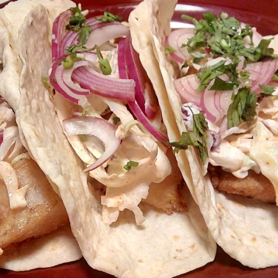 Baja Fish Tacos with Sriracha slaw and pickled onion