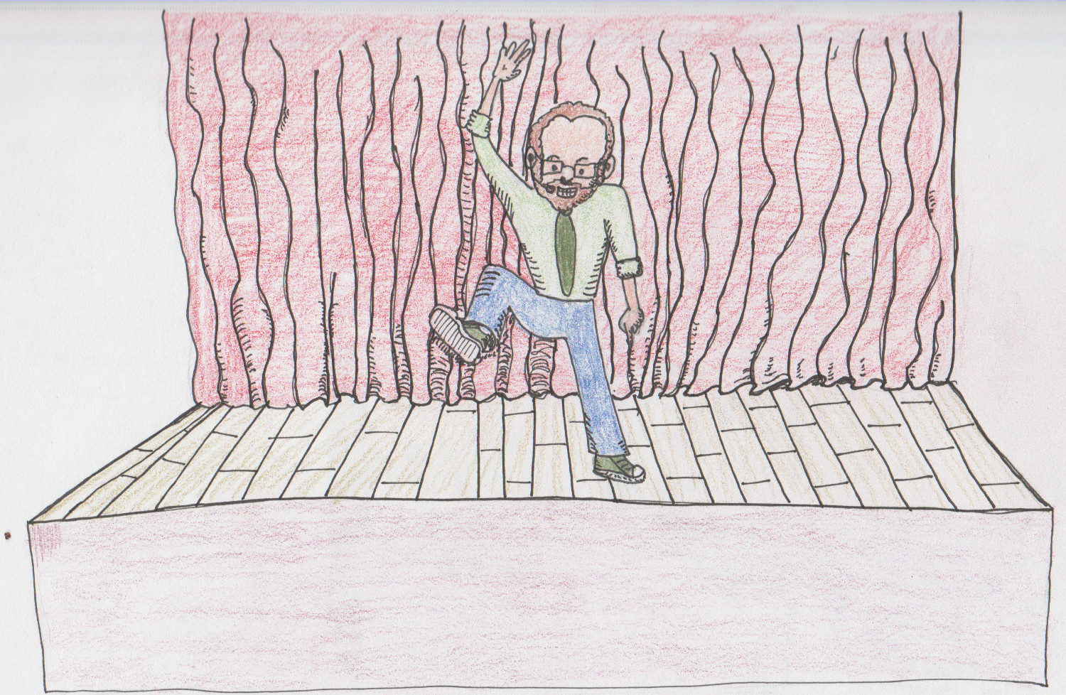Drawing of myself as a motivational speaker trying to instill a bit of ambition into the audience.