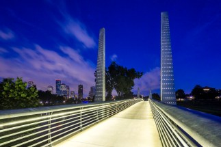 Pedestrian-Bridge-At-Houston-Police-Officer's-Memorial-Blue-Hour-Mabry-Campbell
