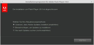 Installationsprogramm für Adobe Flash Player 18.0_007