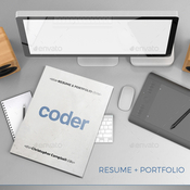 Coder portfolio and resume plantilla indd icon