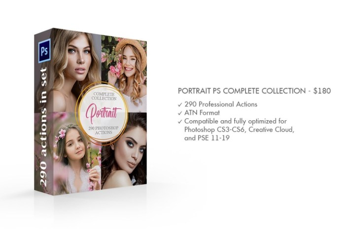 Portrait Photoshop Actions Complete 290 PS Actions Collection Screenshot 02 9oof69n