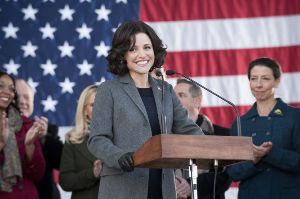 "Let's not kid ourselves that real-life female politicos don't consider the power of appearance. (Ahem, Hillary Clinton, self-proclaimed ""pantsuit aficionado."") Though the Veep's a perpetual Beltway punch line—she's more intent on staying in power than doing anything profound with it—Selina Meyer still ekes out the thinnest veneer of gravitas thanks to her killer wardrobe (a mix of Dior and Prada), which is both conservative and sexy, a credible cover for her total incompetence."