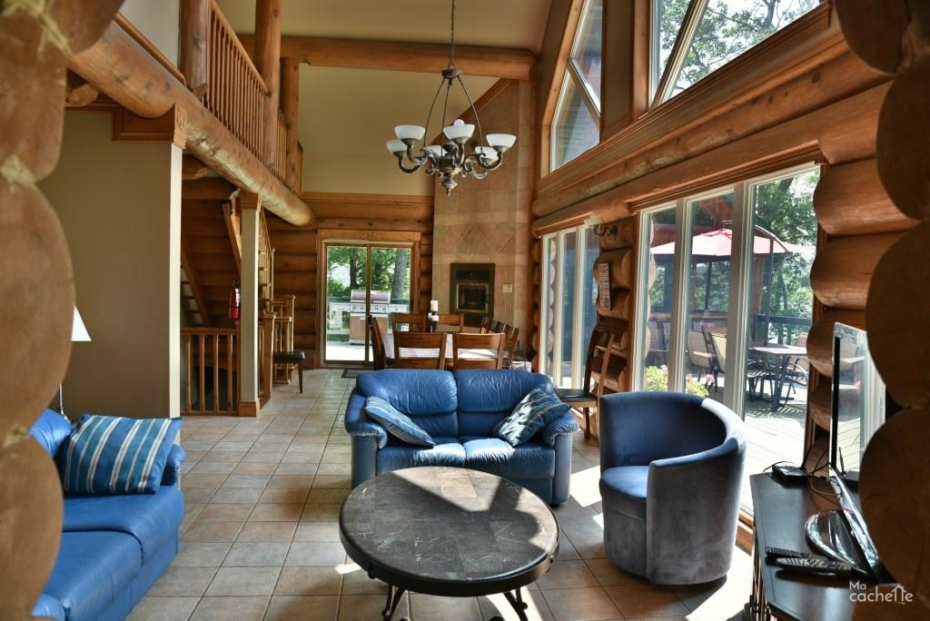 Salon et salle à manger avec foyer au bois