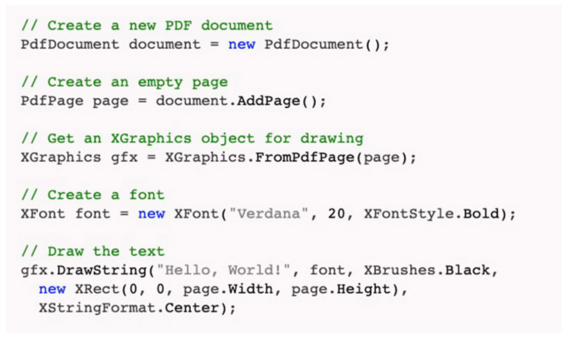 PDFsharp An open-source library that helps in creating PDF documents from any .NET language.