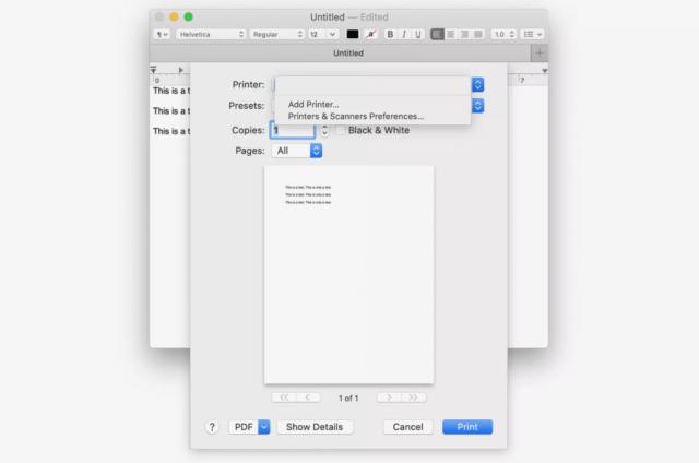 tambah printer kepada macbook
