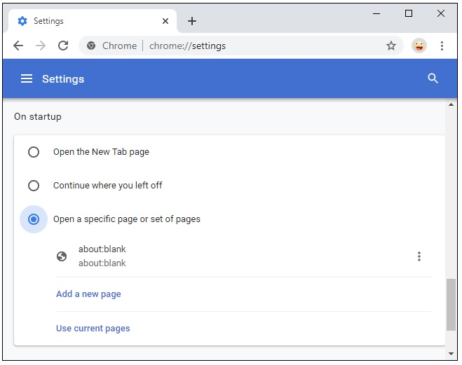 chrome about blank