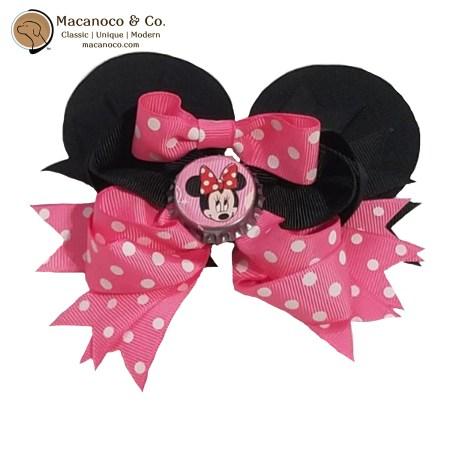 3830 Minnie Mouse Bow Bottle Cap Grosgrain Hair Clip 1