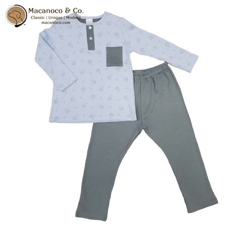 71177 Paraguas Button Pocket Shirt and Pant Pajama Set Sky Blue 1