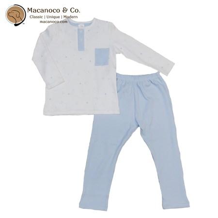 71178 Ositos Button Pocket Shirt and Pant Pajama Set Sky Blue 1