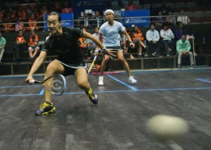 Malaysia's Lee Wee Wern returns the ball to her compatriot Nicol Ann David during their Women's Singles squash final match at the 17th Asian Games