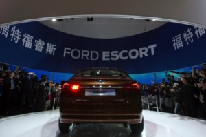 Ford unveils its latest model of Escort at the China Auto show in Beijing