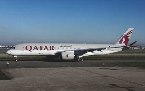 The first Airbus A350 for Qatar Airways sits on the tarmac