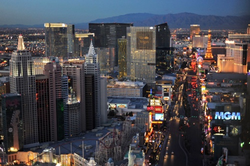"""Casinos and hotels along """"The Strip"""" in Las Vegas, Nevada"""