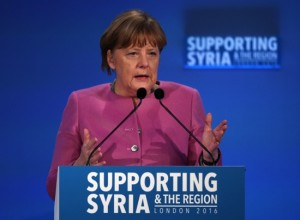 Angela Merkel speaks at the 'Supporting Syria and the Region' conference at the Queen Elizabeth II Conference Centre in London