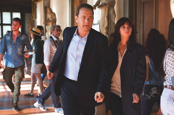 "Tom Hanks, left, and Felicity Jones appear in a scene from, ""Inferno"""