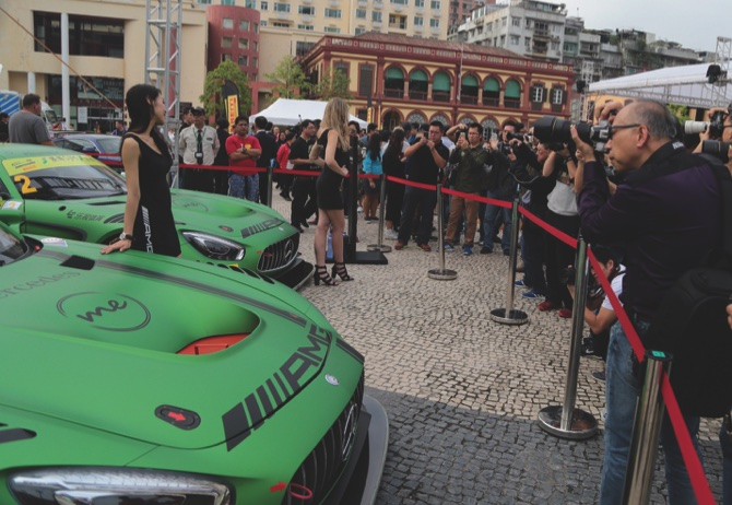 The mighty new Mercedes-AMG GT3 were exhibited at Tap Seac Square before the race