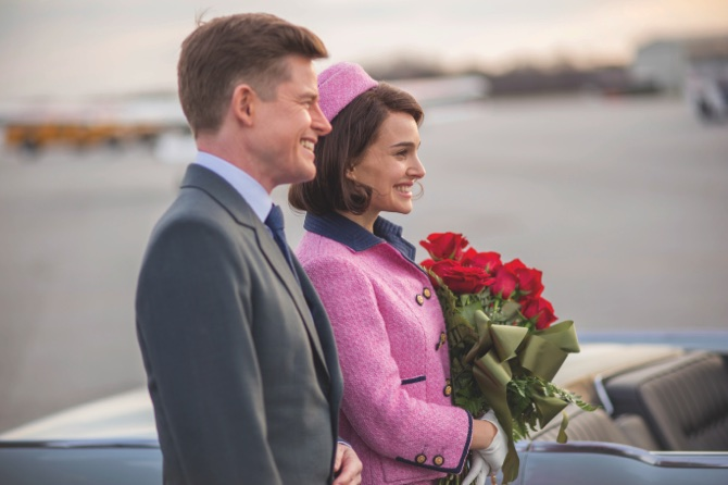 Caspar Phillipson as John (left), and Natalie Portman as Jackie Kennedy