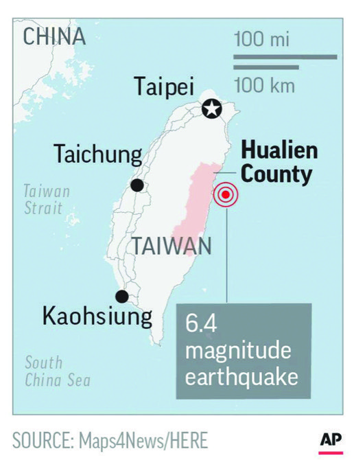 Two employees of the hotel were killed in the disaster CNA said. Taiwan's National Fire Agency said rescuers freed another employee from the rubble