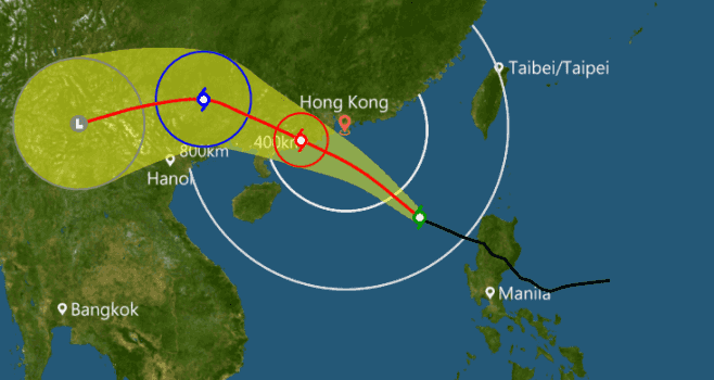 Typhoon signal 1 raised and parts of the city still without power