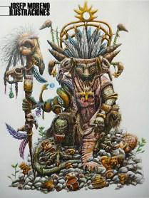 Bahkyek Guardian - Dibujo con lápices de colores sobre papel durex - 50 cms x 35 cms - 2014.