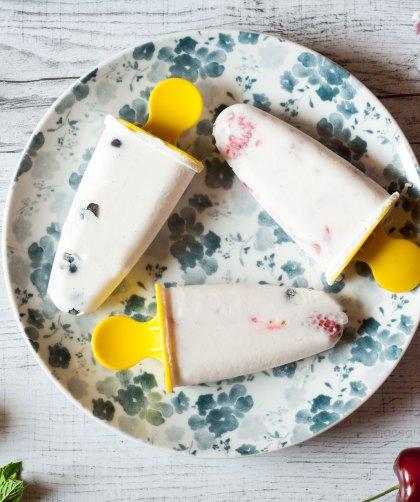 Gelato allo yogurt senza gelatiera con frutti di bosco