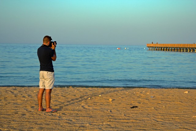 Taking a photo of the pier